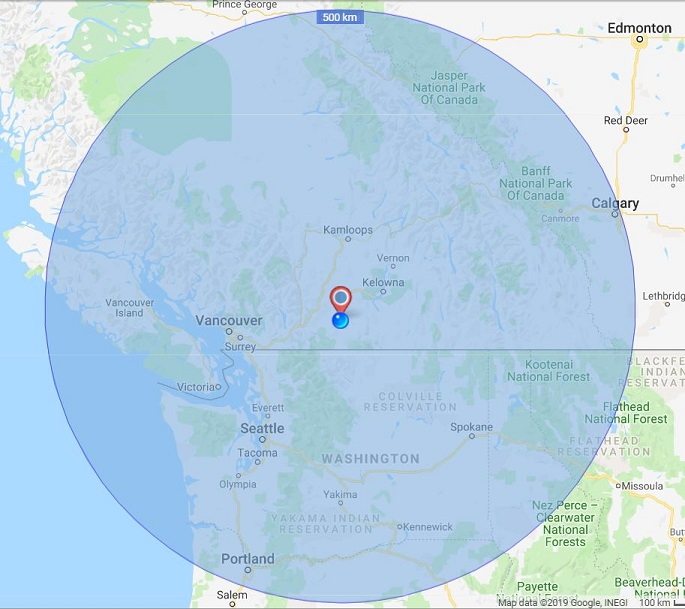 Radius Map 500 KM